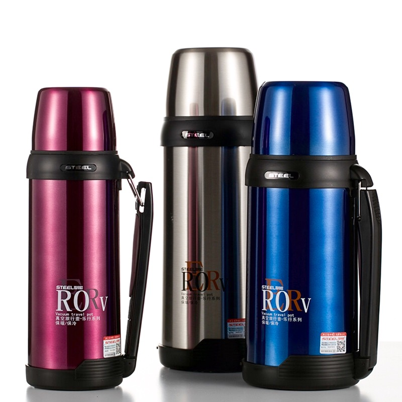 304 Stainless Steel Thermos 1000ml 1500ml 1800ml Termos Coffee Vacuum Flasks Thermoses Travel Thermos Bottle(China)