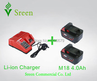 2pcs 4000mAh Lithium Ion Rechargeable Battery Packs With Power Tool Battery Charger Replacement For Milwaukee 18V