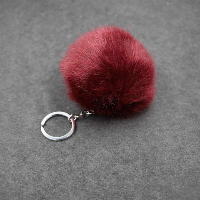 Fofo Fur Pompom Chaveiro Brinquedos de Pelúcia para Crianças Macio Artificial Chaveiro Bola De Pele De Coelho Meninas Saco Pendurar Pingente De Crianças brinquedo de presente