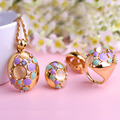 Joias Gold Ouro Necklace Earrings Ring Set Enamel Big Pendants Turquoise Jewelry Sets Luxury Brand Wedding Anel Accessories