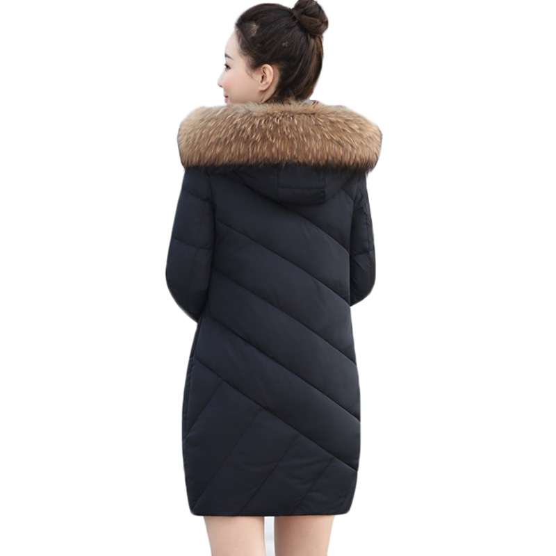 Women Parkas Winter Jacket New Fashion Fur Collar Hooded Outerwear Warm White Duck Down Cotton Jacket Plus Size Female Coats 440