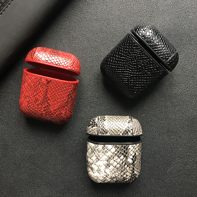 SnakeSkin Leather PU Phone Case For iPhone And Airpods Pro Earphone Headset Cover 4
