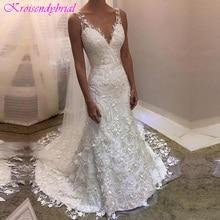 DZW358 2019 New Elegant Appliqued Lace Wedding Dress Mermaid V neck Zipper Back   Wedding Gown Vestido De Novia