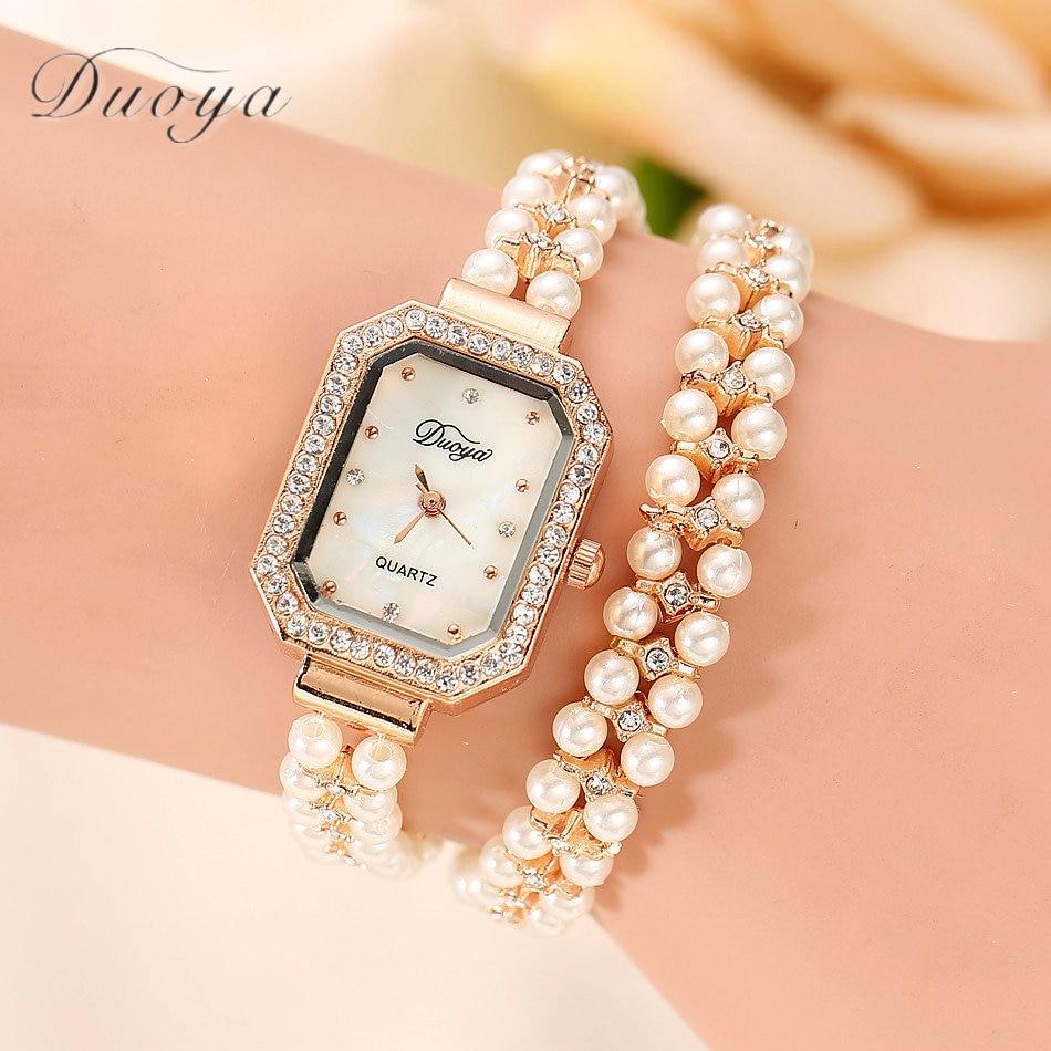 Relogio Feminino New Women Gold Pearl Jewelry Steel Bracelet Wristwatch Quartz Watch Crystal Casual Women Dress Watches #D