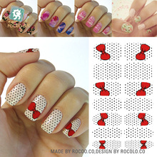 Rocooart K5679 New Fashion Water Transfer Nails Art Sticker Red Bowknots dots Manicure Decor Decals Wraps Stickers for Nail Art