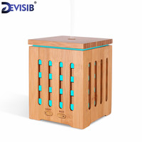 DEVISIB Real Bamboo Essential Oil Diffuser Ultrasonic Aromatherapy Diffusers With 7 LED Colorful Lights And Waterless