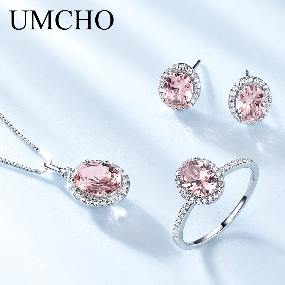 UMCHO 925 Sterling Silver Jewelry Set Pink Sapphire Ring Pendant Necklaces Stud Earrings For Women Wedding