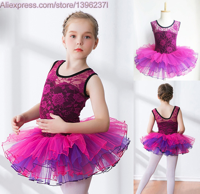 e368e1182 Girls Ballet Tutu Lace Ruffle Tank Vest Leotard Skirt Vestidos 3 16Y ...