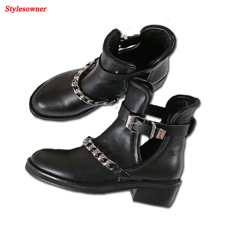 Stylesowner Fashion Metal Chain Women Ankle Boots 2018 Spring New Black Leather Flats Hollow Shoes Woman Sexy Cutouts Short Boot 2017 new european and american romantic pop black magazine cool shoes sexy fashion hollow women boots fashion summer boots