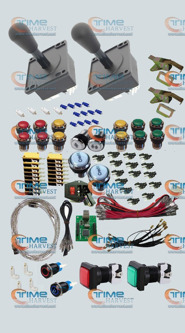 Arcade parts Bundles kit With American Style Joystick chrome Illuminated momentary LED buttons 2 player USB adapter Arcade Game arcade parts bundles kit with 60 in 1 board power supply joystick push button microswitch harness glass clips coin door camlock