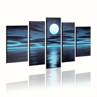 5 Piece Scenery Night Blue Moon Sea Reflection Home Wall Room Living Room Kitchen Decor Picture Art Painting Canvas
