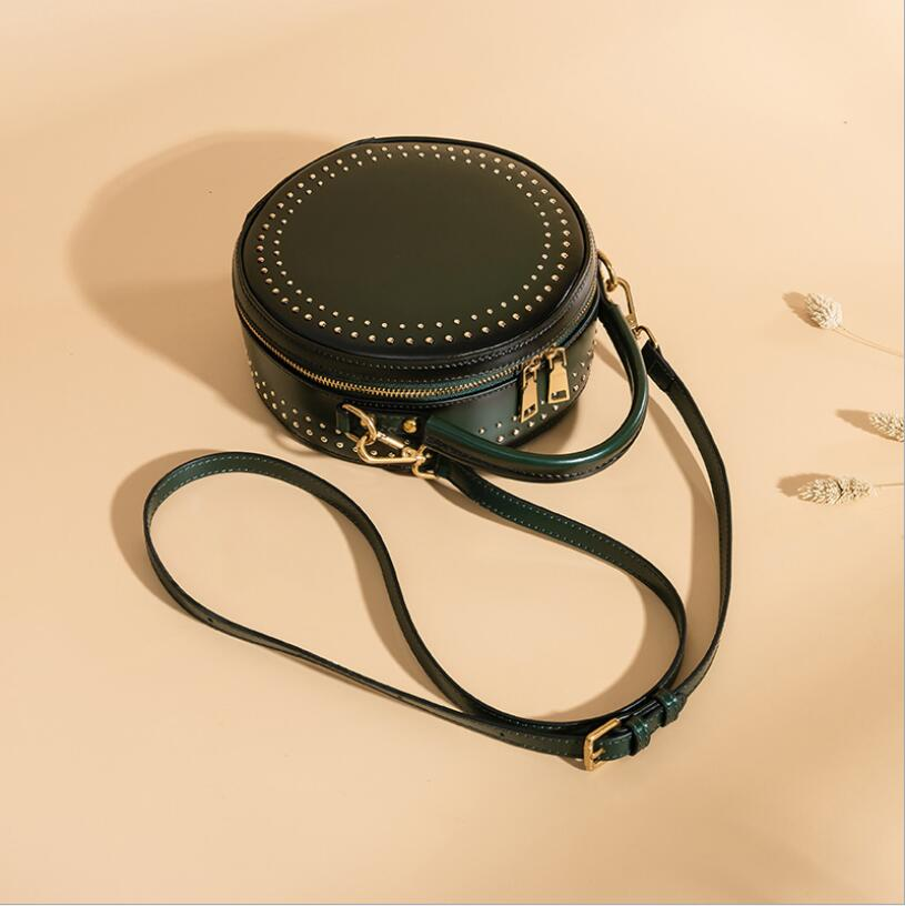 Bolsa do Couro genuíno Novo saco Do Mensageiro feminino bolsa de couro do couro bolsa de ombro vintage rebite simples pequeno saco rodada - 5