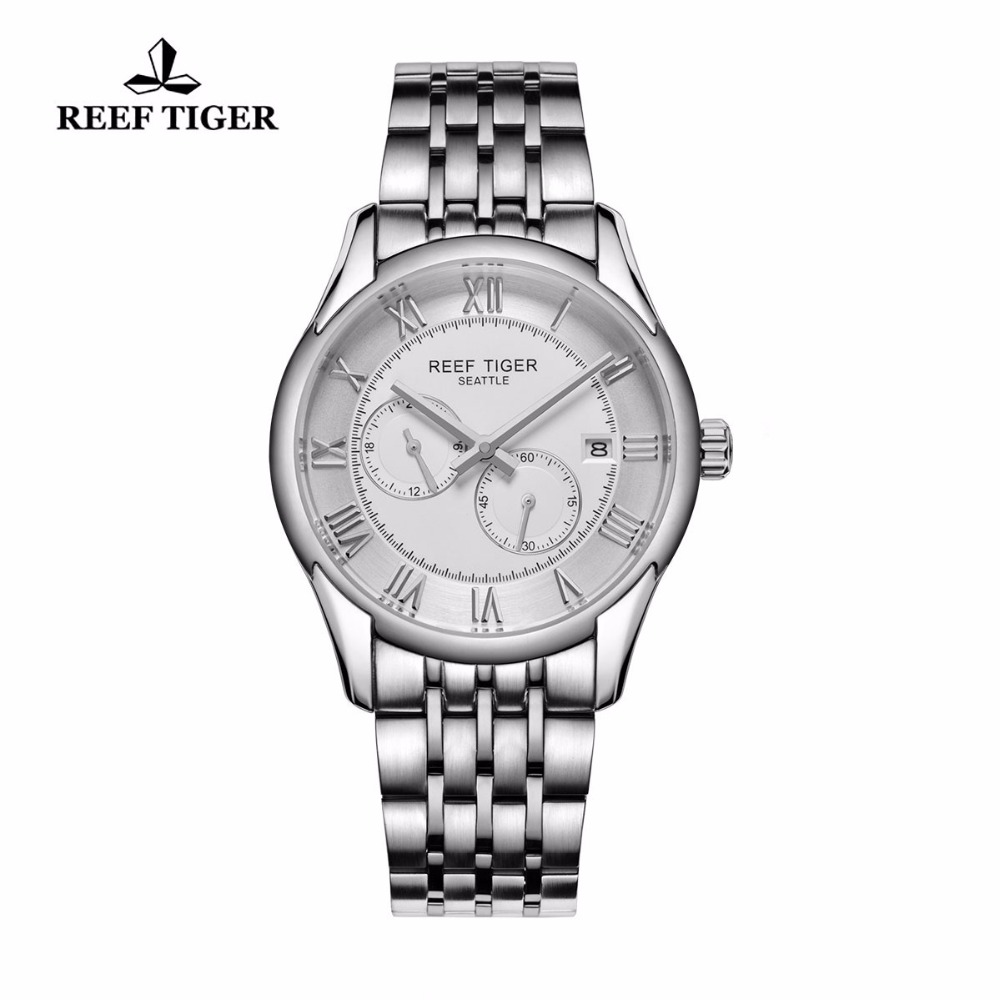 Reef Tiger/RT Watches New Design Business Watch with Date Stainless Steel Watches Men Automatic Watch with Four Hands RGA165 reef tiger rt business men watch with date stainless steel leather strap waterproof mechanical watches rga823