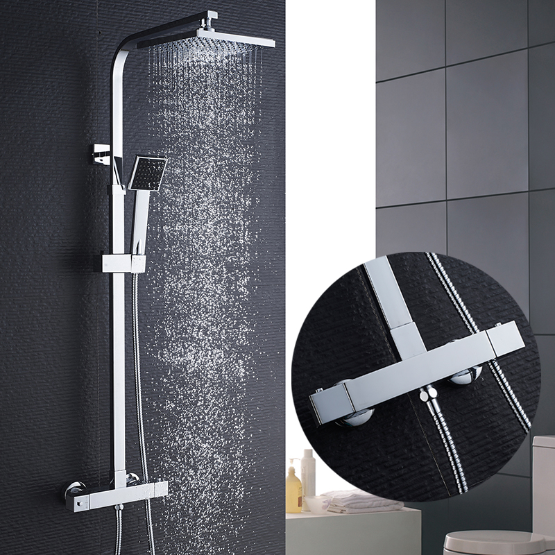 ROVATE Bathroom Thermostatic Shower Set, One-button Control Bath Smart Thermostatic Faucet Shower System,Brass Chrome luxury high quality bathroom chrome rain shower set thermostatic shower faucet bath