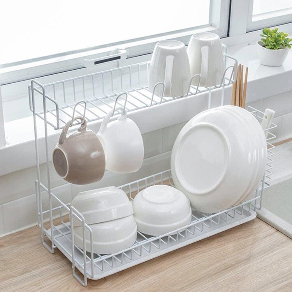 Égouttoir multifonctionnel pratique Double couche vaisselle étagère stockage Rack égouttoir pour cuisine baguettes tasses bol