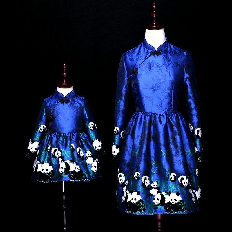 Зимнее Брендовое жаккардовое платье с пандой для младенцев; платье для мамы и ребенка; китайское платье Чонсам для мамы и дочки; одинаковые