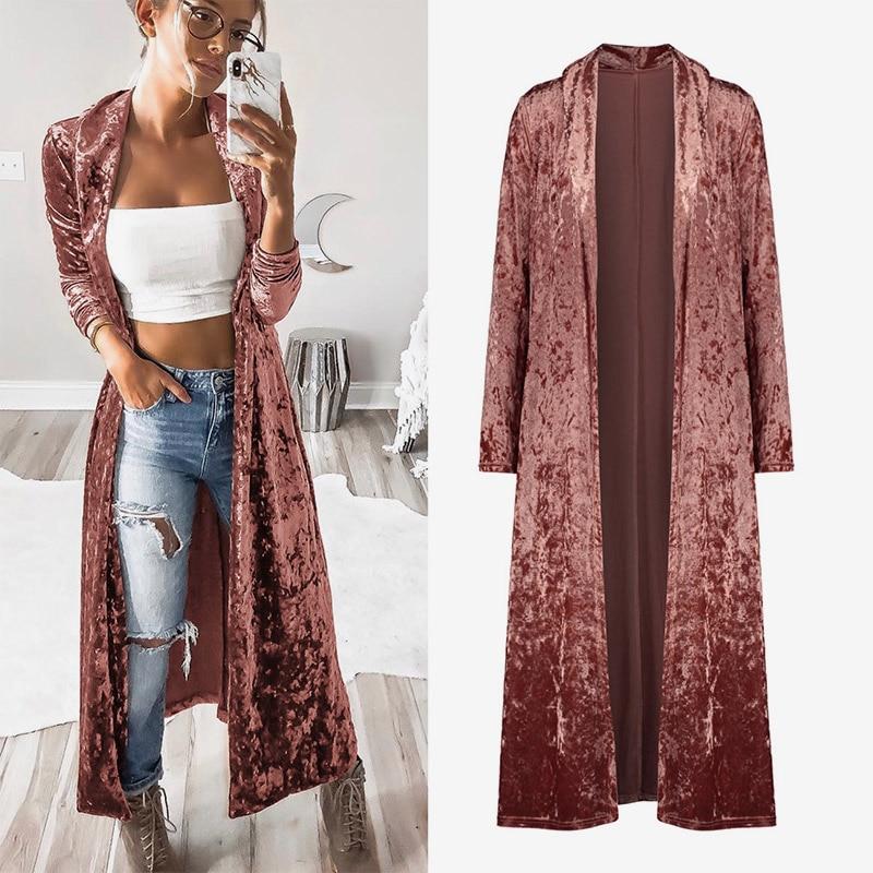 Women's Autumn Velvet Long Kimono Cardigan Velour Long Sleeve Solid Outwear Tops 2020 Spring Fashion Coat Female Casual Cardigan
