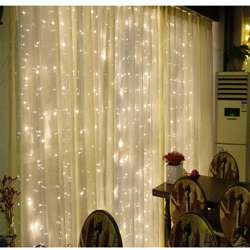 Fairy 2x2m LED Curtain String Light lamp New Year Christmas Decoration night lighting Wedding Party lighting chandelier outdoor