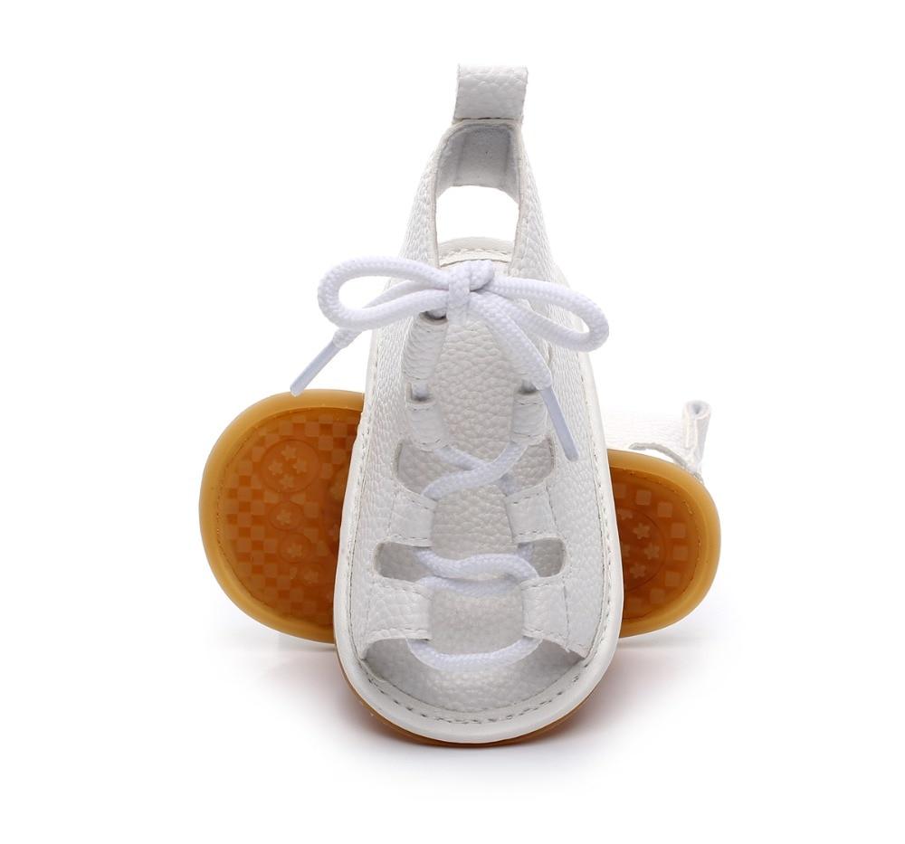 2019 Ny sommer romersk piger børn gladiator hård gummi sål sko toddler baby prinsesse kjole læder snøre up sandaler 11 ~ 15cm