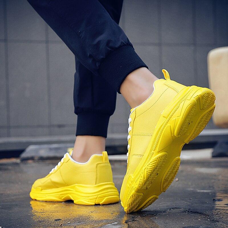 De Blanco yellow Shoes Negro Black Al Gruesa Casuales Aire Shoes Moda Suela white Cuero Los Shoes Libre Hombre Chicos Diseñador 2019 Men Zapatos Hombres Marca Zapatillas qSPI4xU