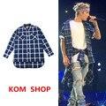 KOM Sur Coreano moda de la calle kanye west Justin bieber TEMOR DE DIOS los hombres clásicos franela camisas de expansión de la red S-XL