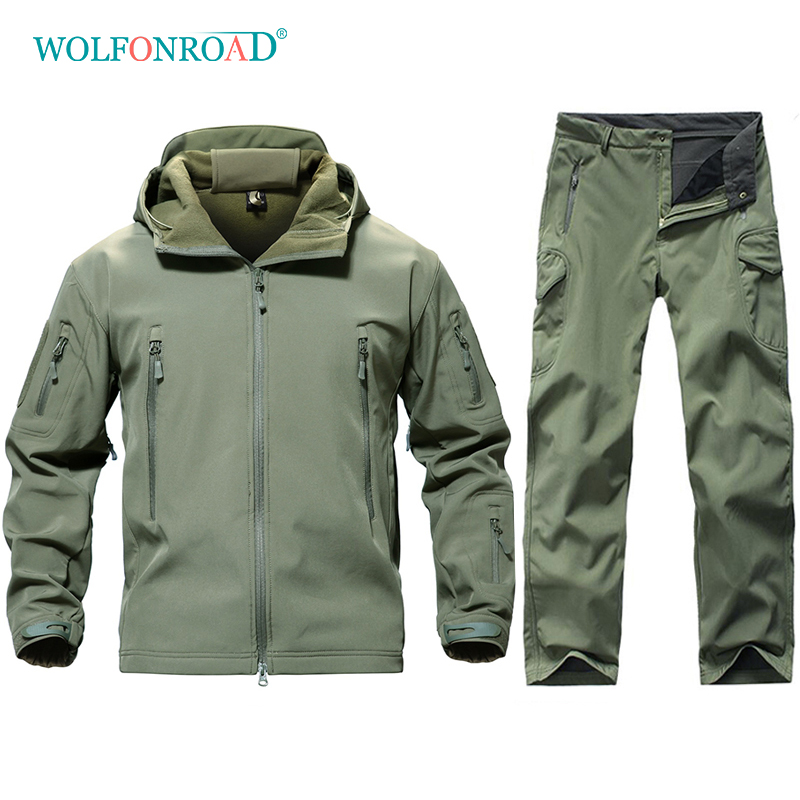 WOLFONROAD Men Outdoor Hiking Hunting Uniforms Softshell Waterproof Camouflage Military Tactical Suit Sets Fleece Jackets Pants
