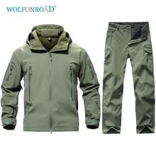 WOLFONROAD Mens Outdoor Hunting Uniforms set Waterproof Pants Camo Military Fleece Jackets & Pants Men Tactical Coat Suit Sets