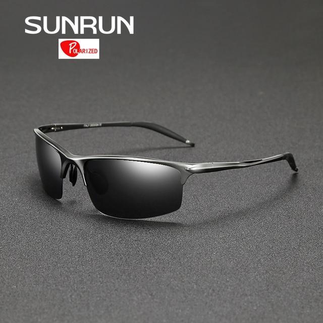 SUNRUN Driving Goggles Polarized Sunglasses Men Outdoor Sports Mirrored Aluminum Magnesium  Sun Glasses Brand Design 8581