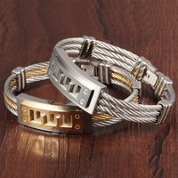 316L Stainless Steel Men S Bracelet Three Rows Wire Braiding With Great Wall Charm Fashion Bangle