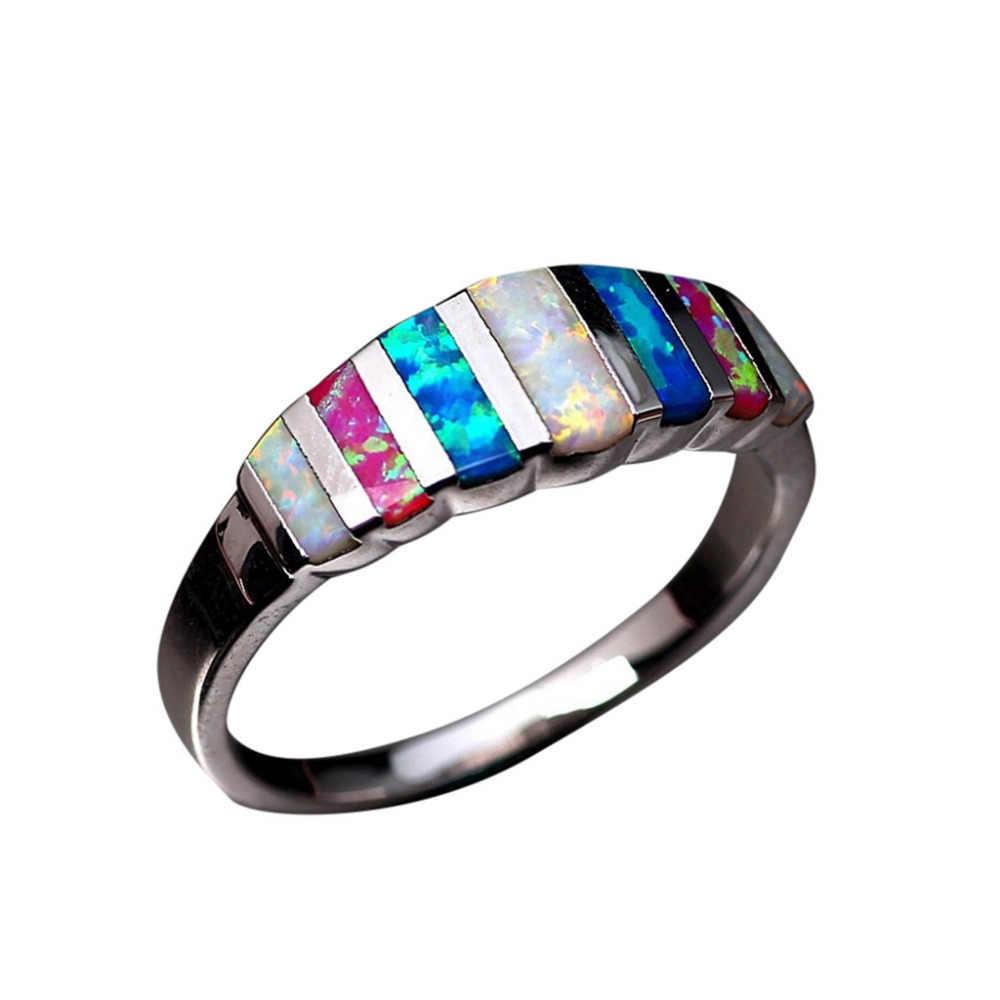 ใหม่แหวนโอปอล Lucky In Love หินครบรอบของขวัญแหวนงานแต่งงานแหวนหมั้นเครื่องประดับ Anillos เครื่องประดับ
