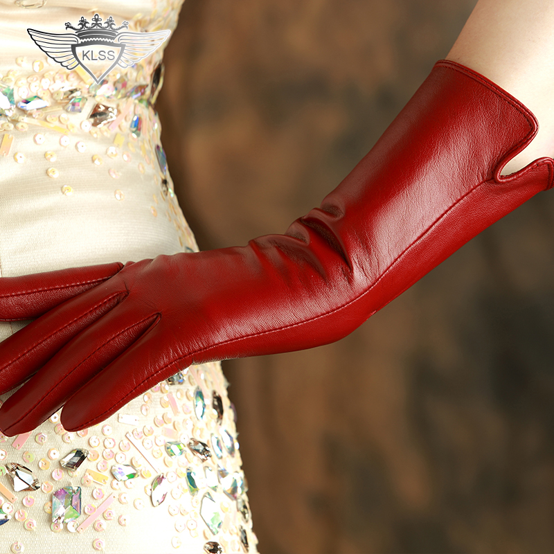 KLSS Brand Genuine Leather Women Gloves High Quality Goatskin Gloves Fashion Trend Elegant Lady 30cm Long