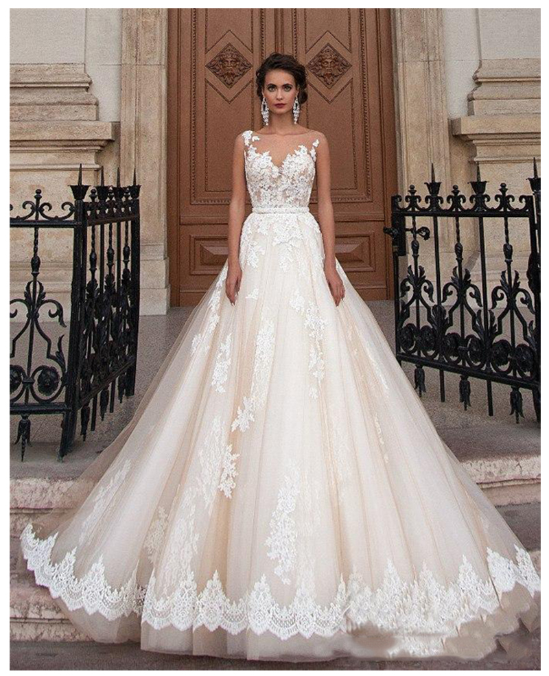 Sleeveless Elegant A Line Appliqued Lace Wedding Dresses 2019 Informal Wedding Dresses Illusion Bridal Gown Dress White