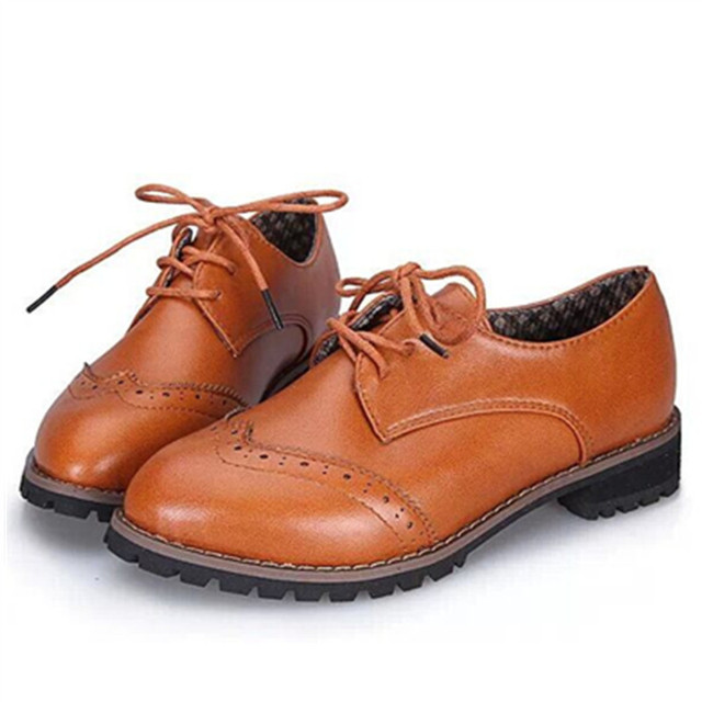 41e8ec86b53 New 2015 Fashion Carved PU Leather Brogue Oxford Shoes For Women Vintage  Cow Leather Bullock Flat Lace Up Women Oxfords