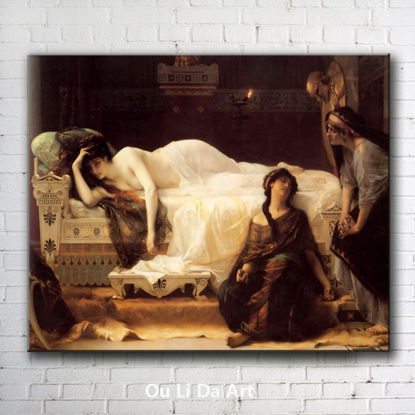 classical court figures <font><b>nude</b></font> sleeping beauty <font><b>bed</b></font> oil painting canvas printings printed <font><b>on</b></font> canvas wall art decoration picture