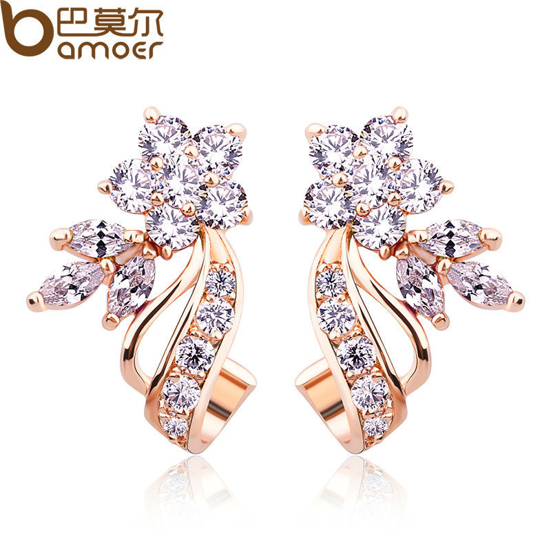 BAMOER Gold Color Stud Earrings with Flower Shape White/Multicolor AAA Zircon For Women Trend Jewelry JIE043 pair of stylish double end faux zircon rhombus flower stud earrings for women