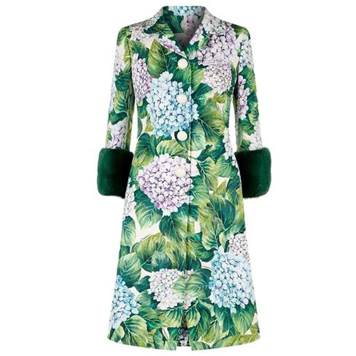 Vert feuilles velours manches femmes Long manteau bouton plante floral laine mélange travail bureau dame mode 2019 Trench manteaux femme