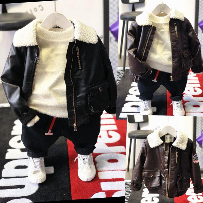Jackets Coats Turn-Down-Collar Long-Sleeve Winter Wool Lamb Solid Zipper-Closure Boy's