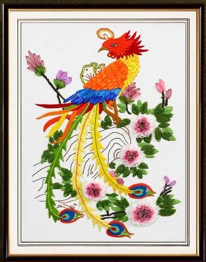 Phoenix Silk Ribbon Embroidery Kit Chinese Handcraft Cross Stitch