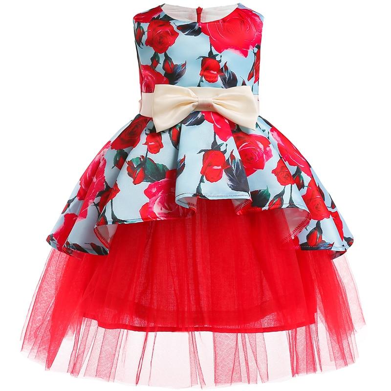 Girls Christmas Flower and Bird Dress Girl Princess Costume Dresses Girl Party Kids Children Prom Gown Vestido Formal Dress Bow 3