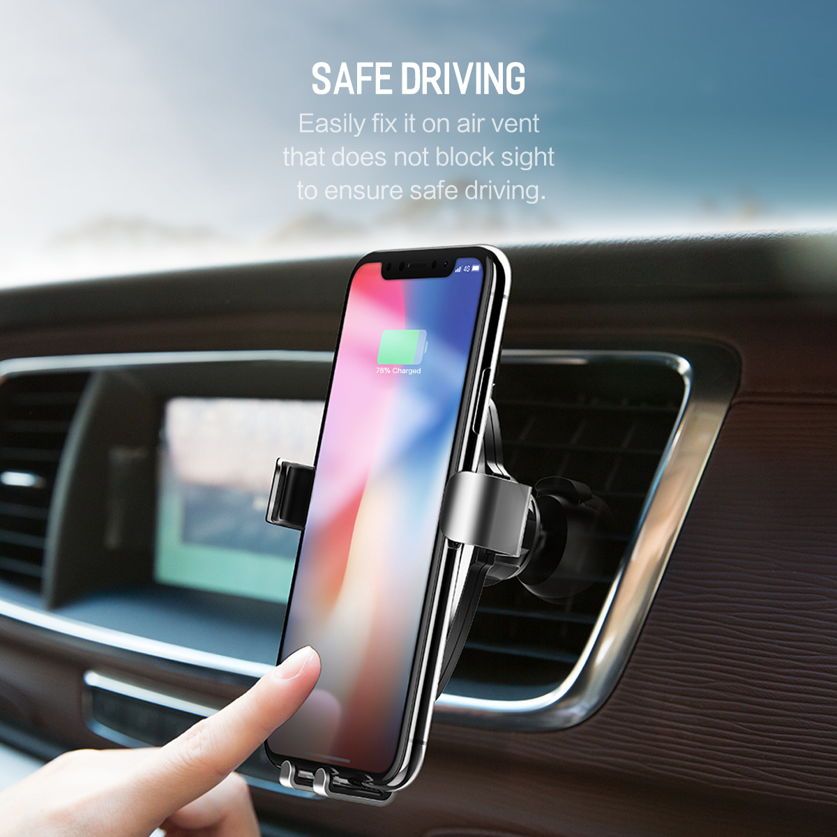 HTB1q77NB2uSBuNkHFqDq6xfhVXaB - 10W QI Wireless Car Charger Gravity Holder , ROCK for iPhone X 8 Plus Samsung Galaxy S8 S7 Note 8 Quick Charge Charging Stand