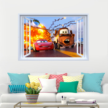 Lightning Mcqueen Tow Mater Cars 3D Wall Sticker -Free Shipping 3D Wall Stickers For Kids Rooms lightning mcqueen wall decals