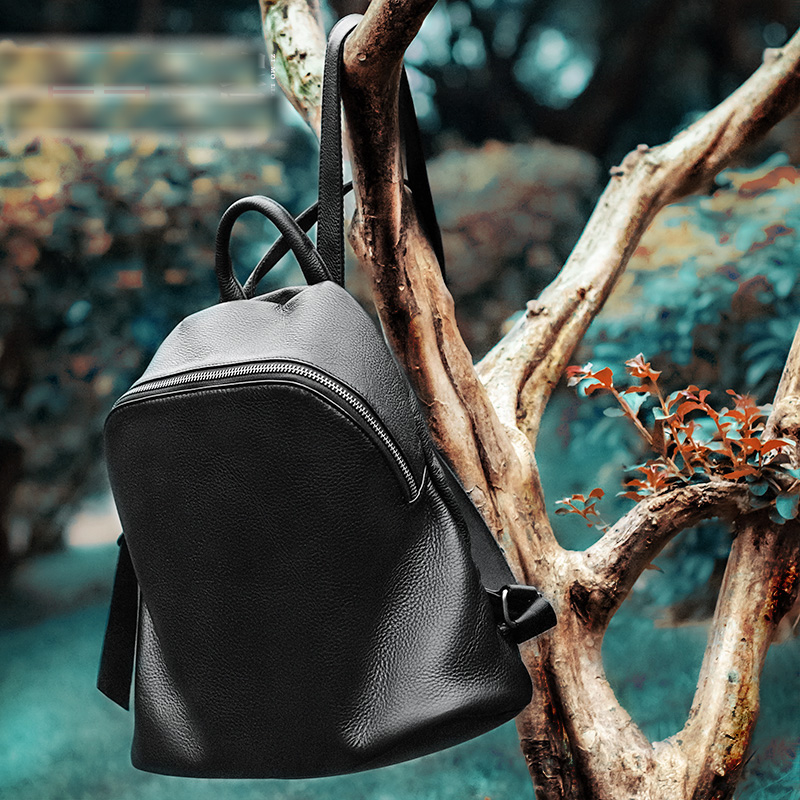Bagaj ve Çantalar'ten Sırt Çantaları'de Zency Sıcak Satış 100% Hakiki Deri Moda Kadın Sırt Çantası Siyah Sırt Çantası Laptop Schoolbag Lady Günlük Rahat Seyahat Çantası Büyük Kapasiteli'da  Grup 3