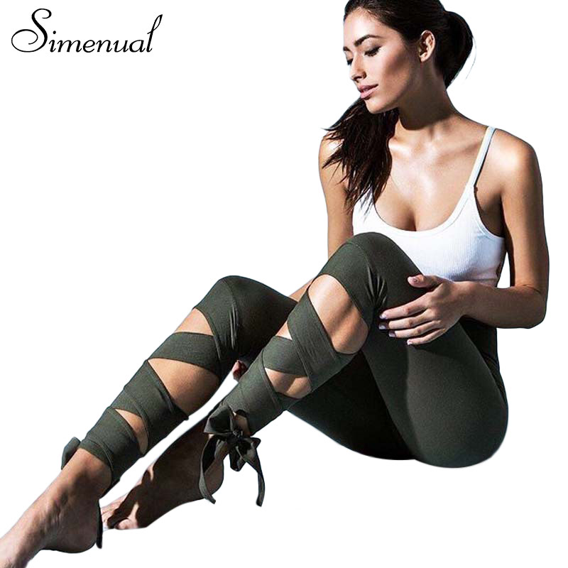 Simenual Spitze up strappy leggings frauen fitness schlank sexy bandage sommer legging sportswear freizeitsport elastische jeggings hosen