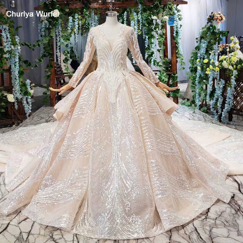 HTL536 plus size wedding dress with wedding veil luxury v-neck long sleeve handwork bridal dress with train vestido de noiva