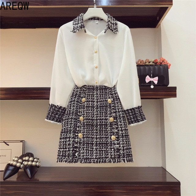 2019 Autumn Women Long Sleeves Turn-down Collar Shirts + Tweed Button Design Slim Skirt 2 Pcs Sets Female Fashion Suits