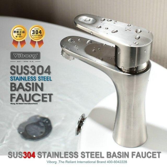 VIBORG robinet mitigeur de lavabo en acier   De luxe solide SUS304 en acier inoxydable moulé sans plomb, vanité de salle de bains, lavabo de lavabo, robinet mitigeur