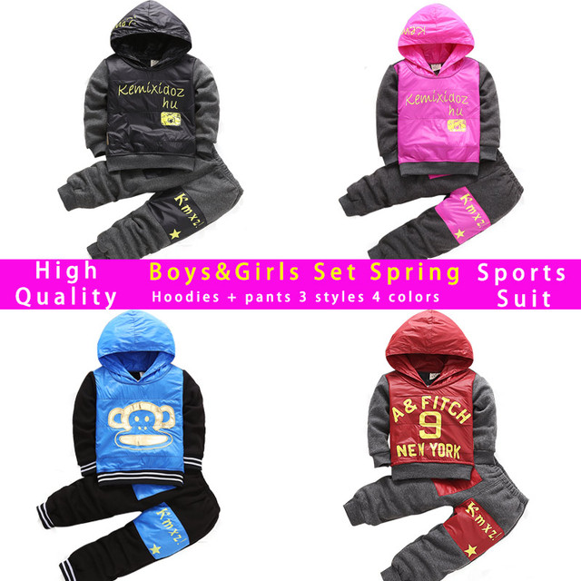 Winter Baby Boys Clothing Set Children Sports Suit Toddler Girls Little Boys Spring Kids Clothes Set Hoodied Coats Pants 2pcs