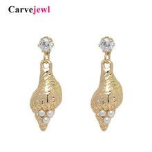 Carvejewl Korean design short dangle earrings Simulated Pearl Cubic Zirconia shell pendant plastic post anti allergy
