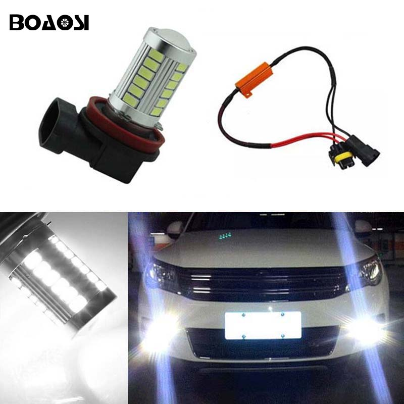 BOAOSI 1x 9006/HB4 Car Canbus Bulbs Reflector Mirror Design Fog Lights No Error For VW Golf 6 MK6 Scirocco T5 Transporter boaosi 2x 9006 hb4 led canbus 2835smd bulbs reflector mirror design for fog lights for bmw e63 e64 e46 330ci car styling