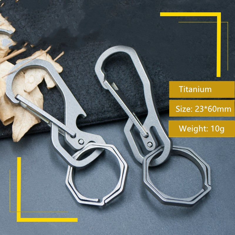 Combination Type Multifunctional EDC Titanium Alloy Mechanical Key Carabiner Backpack Hanging Buckle in Crowbars from Tools